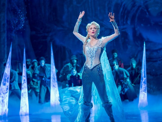 "Caissie Levy as Elsa in the Broadway musical ""Frozen."""