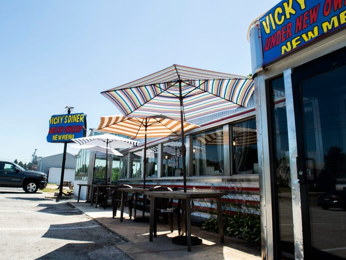 Outdoor seating a new addition to the diner, Thursday,