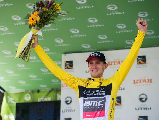 American Tejay Van Garderen celebrating his hold on the yellow leader jersey following Stage 1 of the 2018 Tour of Utah.