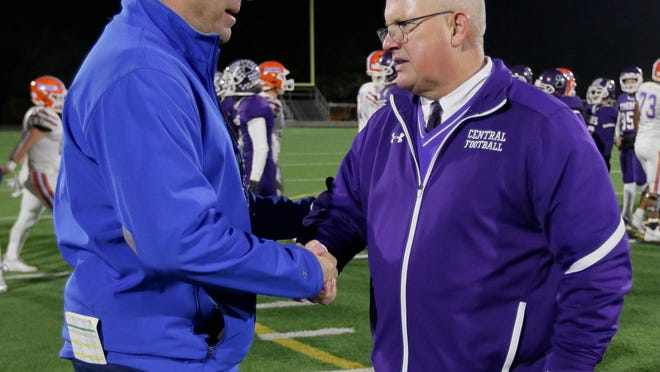 Olentangy Orange coach Zebb Schroeder, left, and Pickerington Central coach Jay Sharrett are both excited about the new challenges facing their teams in the new division alignments.