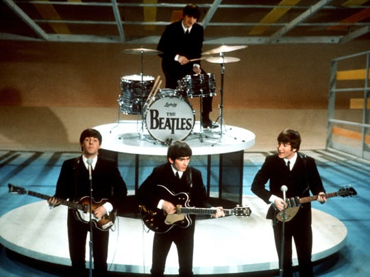 """The Beatles on the """"Ed Sullivan Show"""" in New York in 1964."""