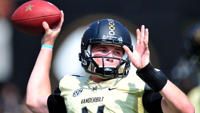 Vanderbilt quarterback Kyle Shurmur warms up before the Austin Peay game at Vanderbilt Stadium on Saturday, Sept. 19, 2015.
