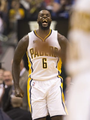 Lance Stephenson of Indiana, yells after a key first half shot against the Atlanta Hawks at Indiana Pacers, Bankers Life Fieldhouse, Indianapolis, Wednesday, April 10, 2017.