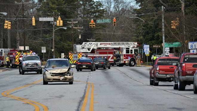 A two-car collision at the corner of East Greenville Street and Boulevard slowed the flow of traffic through the intersection around 1:45 p.m. Tuesday, Jan. 9.
