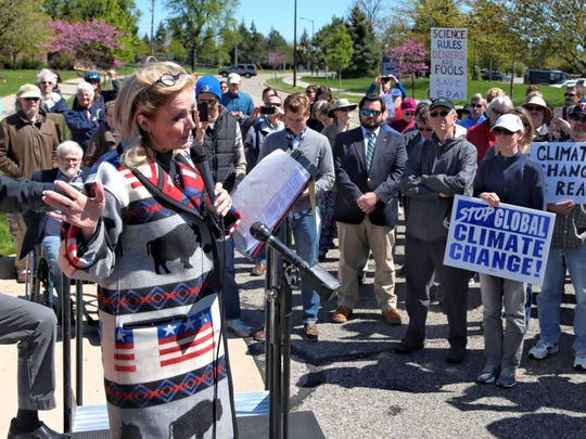 Congresswoman Debbie Dingell speaks about her opposition to the proposed EPA cuts that would affect vehicle testing on Monday, May 8 2017 at the EPA Union in Ann Arbor following her visit to the U.S. EPA National Vehicle and Fuel Emissions Laboratory in Ann Arbor.