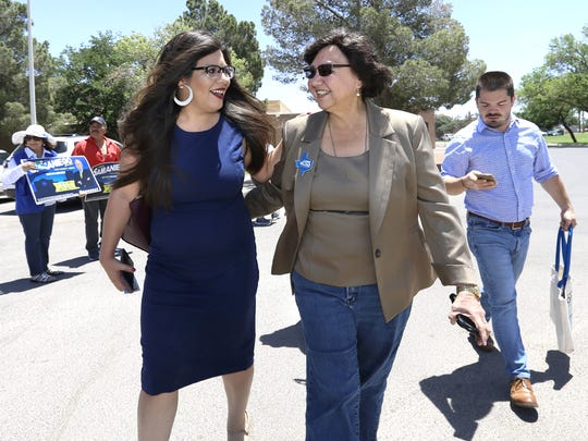 Former Dallas County Sheriff Lupe Valdez, right, talks with State Rep. Mary Gonzalez during her campaign stop Friday at the Pavo Real Recreation Center. Mary Gonzalez said that having an LGBTQ candidate for Governor is an inspiration to her and paves the way for her future political career.