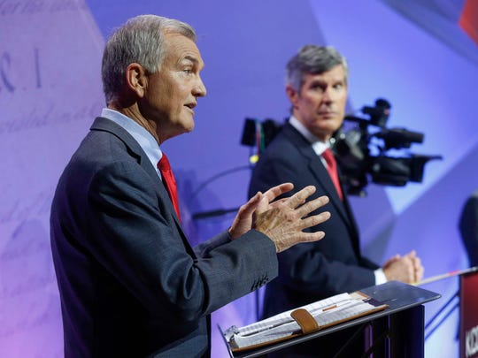 Iowa democratic candidate for governor John Norris answers a question during the 2018 Iowa democratic gubernatorial primary debate in Des Moines on Wednesday, May 30, 2018.
