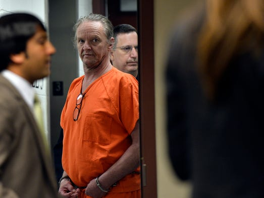 Roger Dennis Owens, who dragged a dog behind his truck, makes his way into the courtroom. Judge Letitia Verdi sentences Owens to 10 years and 6 months in jail on the ill treatment of animals and other traffic violations on Tuesday, July 15, 2014.