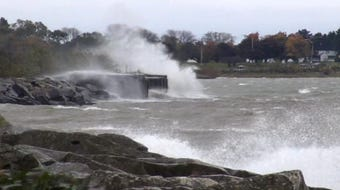 Windy weather on Oct. 14, 2014 created some big waves in Manitowoc County.
