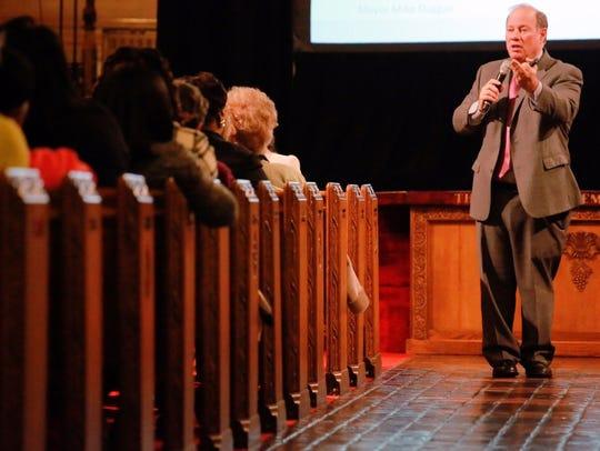 Detroit Mayor Mike Duggan speaks during a community