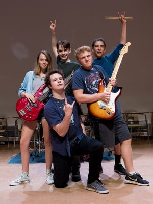 School of Rock cast members, from left, Violet Smale, Brandin Tolman, Jackson Deshazer, Leonardo Malavet and Colin Mayo.