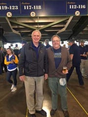 Milwaukee Mayor Tom Barrett and his chief of staff, Patrick Curley, on Brewers opening day (date unknown).