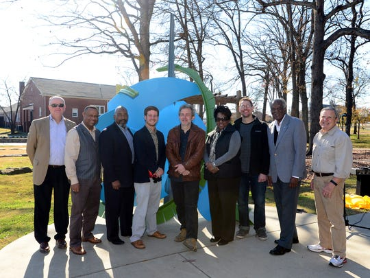 """""""The Depot,"""" a sculpture by artist Joey Manson is dedicated as part of the Mauldin Public Art Trail behind the Mauldin Cultural Center on Tuesday."""