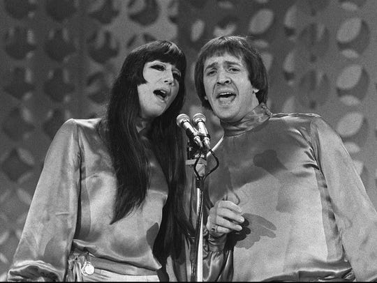 "Sonny and Cher sing from a balcony on the ""Danny Thomas"