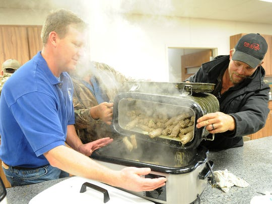 Members of the Windthorst Knights of Columbus and the Windthorst Volunteer Fire Department will be cooking K of C's famous sausage 11-2 March 3 for an all-you-can eat feed.