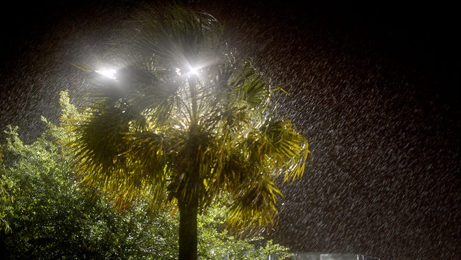 Rain and winds pound North Charleston as the city feels the effects of Hurricane Matthew on Friday.