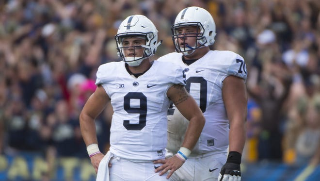 Brendan Mahon (70) worked himself into the team's best all-around offensive lineman last fall before injury ended things. Now, he's back for his senior season and should give Trace McSorley (9) and company plenty of protection and leadership.