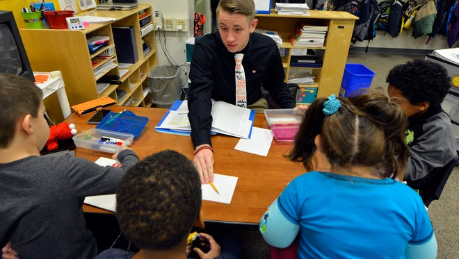 Student teacher Brian Baker works with children in a Autistic support class at Valley View Elementary School , December 9, 2016.John A. Pavoncello photo