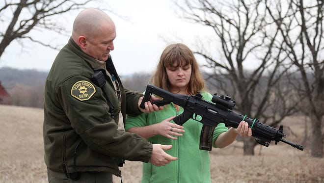 Cedar County (Iowa) Sheriff Warren Wethington has been teaching his daughter, Bethany, to use firearms. A brain tumor left Bethany, 18, partially blind, but he believes that once she becomes of legal age to purchase firearms, she should not be excluded from her second amendment rights.