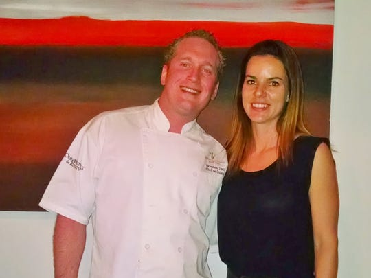 Brandon Testi, bluEmber's chef de cuisine, and Nicole Gilberts, district manager of Kobrand Fine Wine and Spirits.