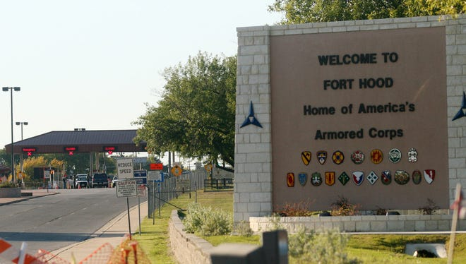 An entrance to Fort Hood Army Base is shown in 2009.