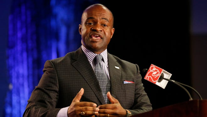 NFLPA executive director DeMaurice Smith speaks during a press conference at Phoenix Convention Center.