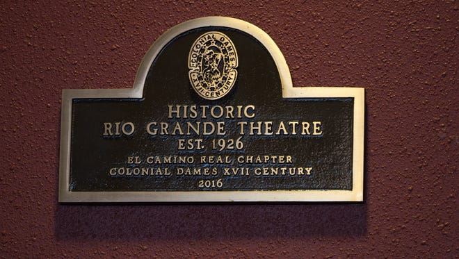 The new plaque dedicated by the El Camino Real Chapter of the Colonial Dames of the XVII Century, in the lobby of the Rio Grande Theatre, Wednesday Oct. 26, 2016.