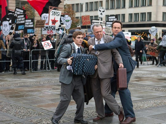 "Dave Franco (left), Tom Wilkinson and Vince Vaughn start in ""Unfinished Business."""