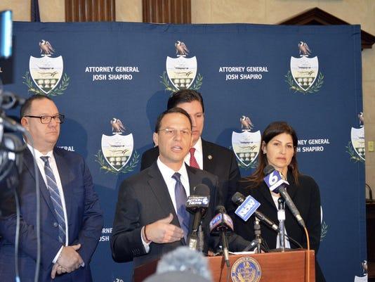 Pennsylvania AG Josh Shapiro and staff, and sexual abuse victim Jim VanSickle