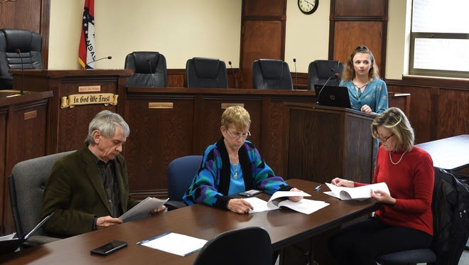 Mountain Home eighth-grader Sydney Goettler (at podium) addresses members of the Mountain Home City Council's Public Safety Committee on Tuesday evening at City Hall.