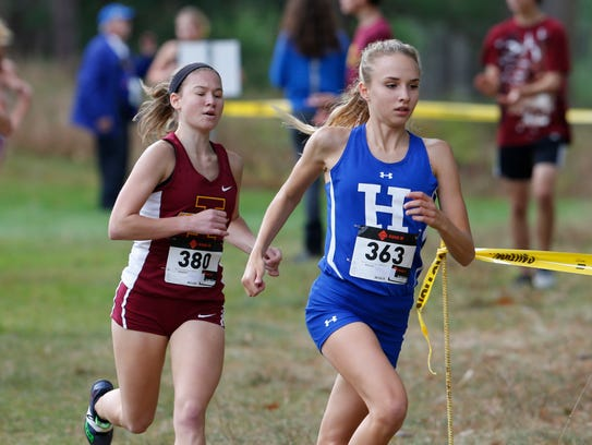 Horseheads' Madison Klein ahead of Ithaca's Lizzy Rayle