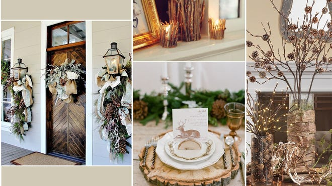 """This collage of """"rustic"""" holiday decorations was made in-house at Jamie Herzlinger's firm. """"Traditional"""" and """"glam"""" themes are popular and exciting ways to go, too."""