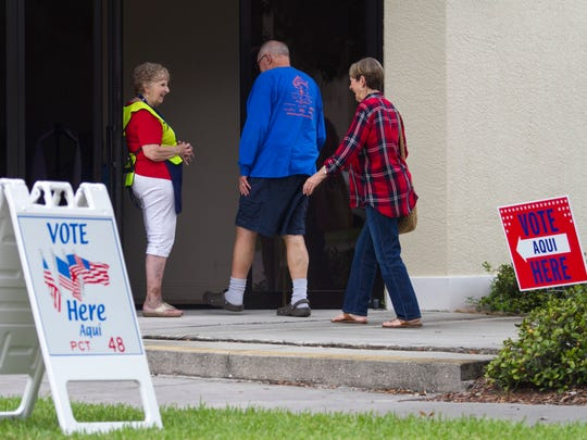 Voters enter the 48th precinct to vote on Tuesday, August 30, 2016, in Fort Myers.