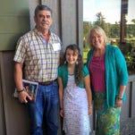 Oregon Mayors Association essay winner Sophia Borgstahl of Scotts Mills, center, with Val Lemings Scotts Mills Councilor Val Lemings, right and Silverton Mayor Rick Lewis.
