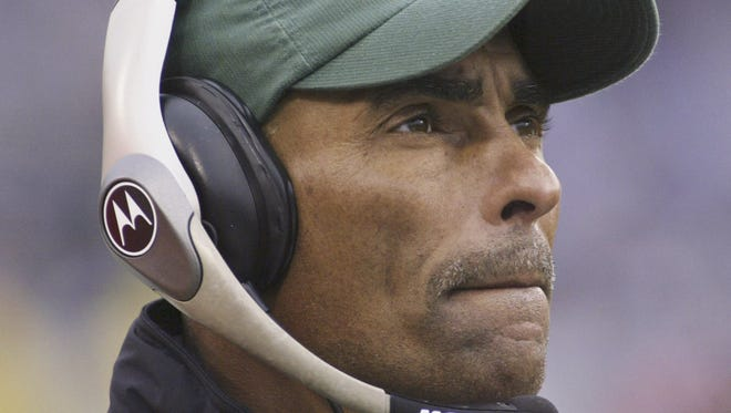 Herm Edwards coaches the New York Jets against the Buffalo Bills on Nov. 7, 2004.