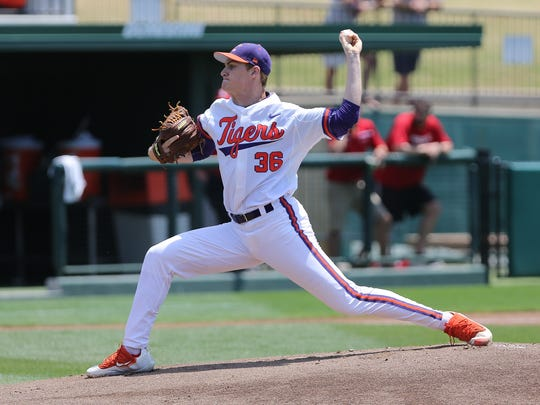 Clemson's Pat Krall delivers one of his career-high 108 pitches Sunday in the Tigers' 2-1 victory against N.C. State.