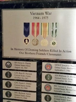 This plaque has been placed in a showcase that will hang in the Military Room at the Deming-Luna-Mimbres Museum. The case was donated by Leroy and Brenda Zachek of Deming.