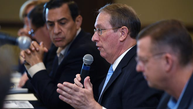 U.S. Rep. Bob Goodlatte, chairman of the House Judiciary Committee, middle, hosts a copyright listening session Tuesday at Belmont University in Nashville.