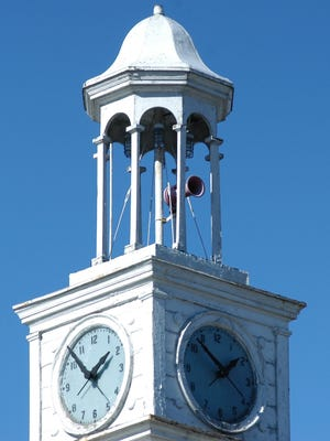 The horn is located in the steeple atop Verona Town Hall.