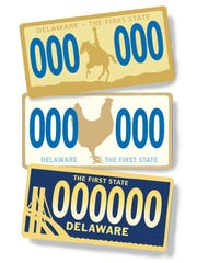 """SHARE YOUR IDEAS: News Journal graphic artist Dan Garrow dreamed up three designs for a new license plate following the requirements in state law: blue and gold colors and the words """"Delaware"""" and """"The First State."""" What are your ideas? Join the conversation at www.facebook.com/delawareonline or upload visual ideas at www.delawareonline.com/share."""
