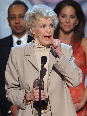"Actress Elaine Stritch after receiving a 2001 Tony award for her one-woman show, ""Elaine Stritch: at Liberty."""