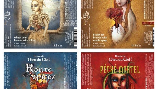 Labels from a few of Dieu du Ciel's world-class brews.