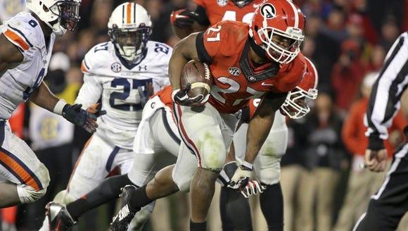 Nov 15, 2014; Athens, GA, USA; Georgia Bulldogs running