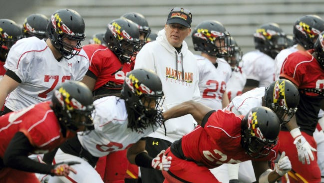 Maryland head football coach and Susquehannock high school graduate Randy Edsall runs his team through warm up drills during practice at Byrd Stadium in College Park, Md. in early April. After the Terrapins have gone 13-24 in Edsall's first three seasons, and as Maryland moves into the Big Ten, this year is critical to Edsall's efforts to build a winning program in College Park.