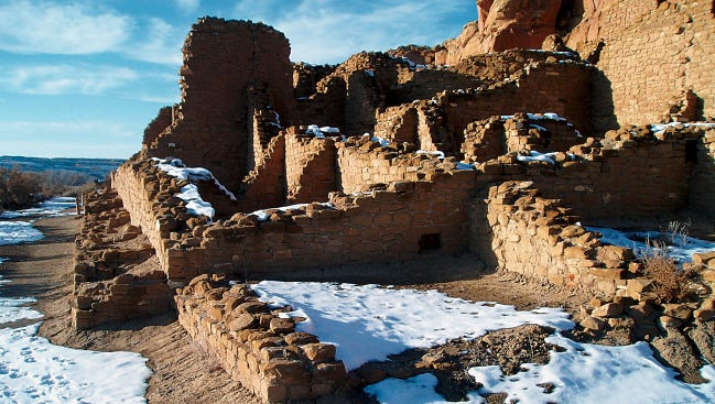 Chaco Canyon's Kin Kletso Great Kiva is seen during a winter solstice celebration at Chaco Culture National Historical Park.