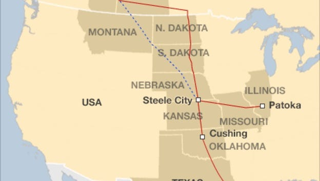 Map of proposed Keystone XL route.