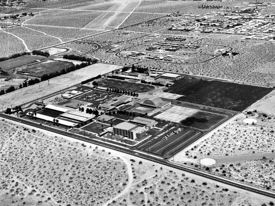 Aerial view of Palm Springs High School, circa 1960.