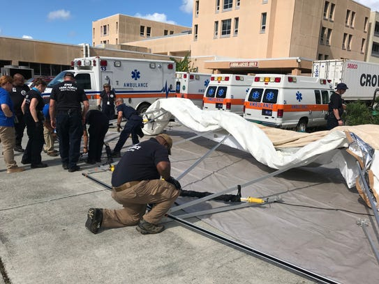 Members of the EMS Task Force set up camp on the U.S.