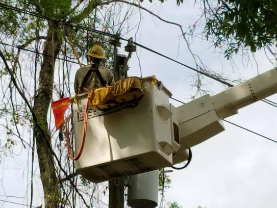 City of Tallahassee Utility crews work to restore power