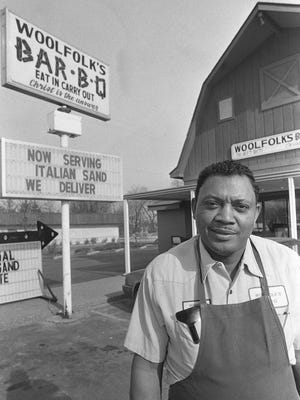 In 1982, David Woolfolk, pictured here in 1987, took over the family barbecue business founded by his father in 1932 at Cairo. He moved it to Barret Boulevard in 1984. The business shut down about 1988.